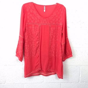 Monoreno Coral Embroidered Eyelet Tunic Top